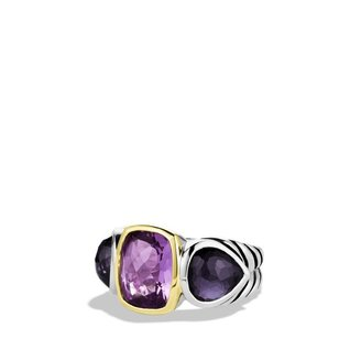 David Yurman Mosaic Three-Stone Ring with Amethyst, Black Orchid, and Gold