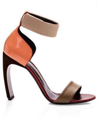 Nicholas Kirkwood Preorder Khaki Orange Bow Heel Sandal