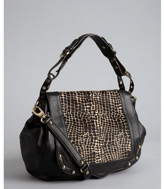 Rebecca Minkoff black calf hair and leather 'Moonstruck' saddle bag