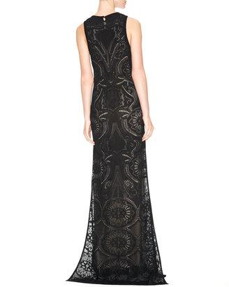 Roberto Cavalli Side-Slit Keyhole Gown