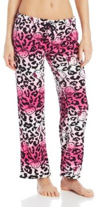 Hello Kitty Junior's Color Fanatic Pink Black Animal Print Rolled Pant
