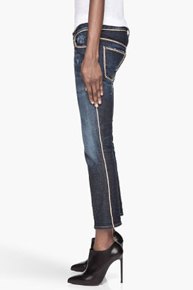 DSquared DSQUARED2 Blue and gold Chain-trimmed Slim Cropped Jean
