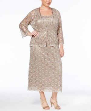 R & M Richards Plus Size Sleeveless Sequined Lace Dress and Jacket