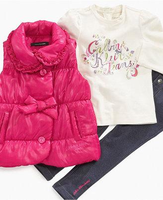Calvin Klein Baby Set, Baby Girls 3-Piece Logo Set