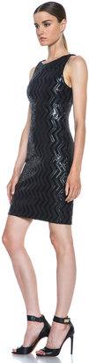 Alice + Olivia Aviana Zig Zag Nylon-Blend Sequin Dress in Black