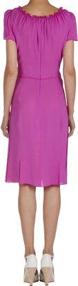 Nina Ricci Ruffle Neck Short Sleeve Dress