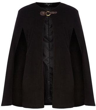 Dorothy Perkins Black buckle cape coat