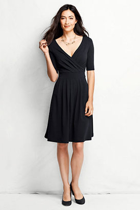Lands' End Women's Petite Elbow Sleeve Cotton Modal Fit and Flare Dress