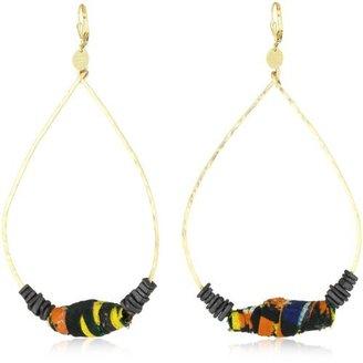 "Double Happiness Jewelry ""African Safari"" Large Orange Fabric Gold-Tone Tear Shape Earrings"
