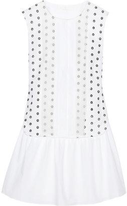 Thakoon Organza-trimmed eyelet-cotton and poplin dress
