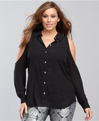 INC International Concepts Plus Size Long-Sleeve Cutout Shirt