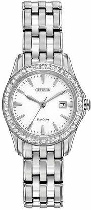 Citizen Women's Silhouette Crystal Eco-Drive Stainless Steel Bracelet Watch 28mm EW1901-58A