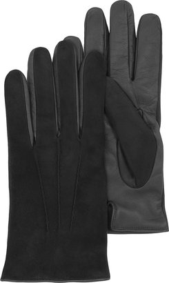 Forzieri Black Touch Screen Leather Men's Gloves