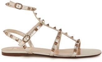 Valentino Garavani Rockstud Bronze Leather Sandals