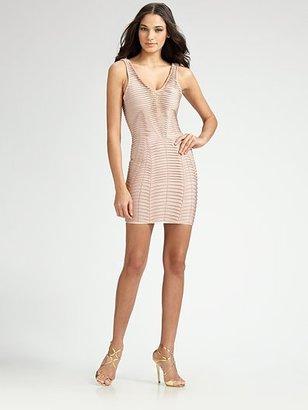 Herve Leger Chevron Illusion Mini Dress