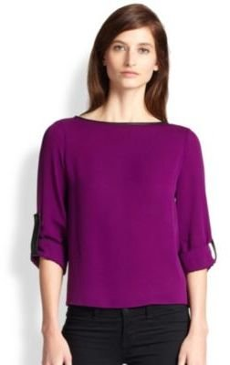 Alice + Olivia Leather-Trimmed Roll Sleeve Top