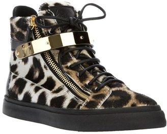 Giuseppe Zanotti Design leopard print hi-top sneakers