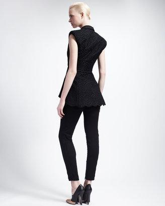 Stella McCartney Skinny Lace-Stripe Jeans with Ankle Zip