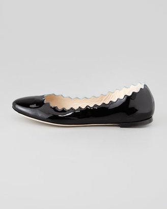 Chloé Scalloped Patent Leather Ballerina Flat, Black