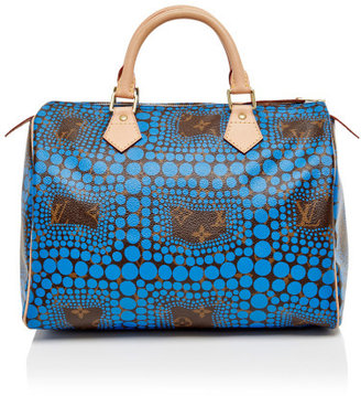 Louis Vuitton Vintage 30Cm Blue Kusama Wave Speedy Silver