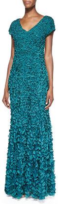 Theia Petal V-Neck Gown