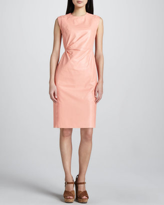 Neiman Marcus Leather Ruch-Waist Dress