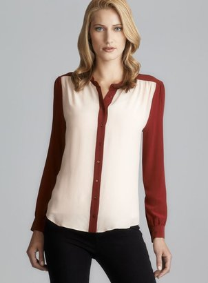 Gerard Darel Collarless Colorblock Silk Blouse