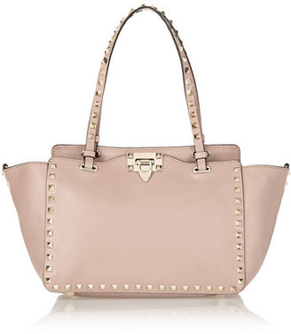 Valentino - The Rockstud Small Leather Trapeze Bag - Blush $2,095 thestylecure.com
