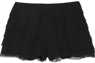 Moschino Ruffled tiered mousseline shorts