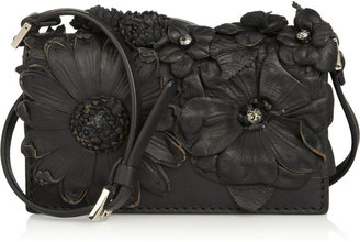 Valentino Floral-appliquéd leather mini shoulder bag