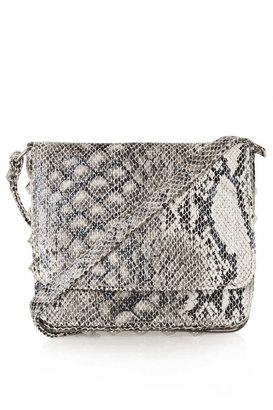 Topshop Snake Double Flap Crossbody Bag