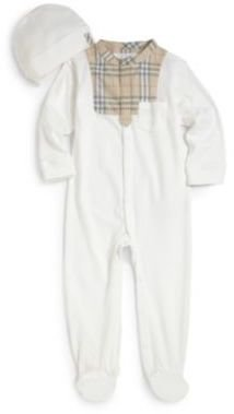 Burberry Infant's Two-Piece Check Trim Footie & Hat Gift Set