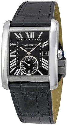 Cartier Tank MC Automatic Black Dial Black Leather Men's Watch