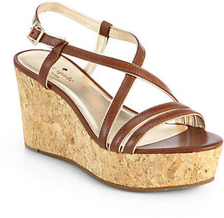 Kate Spade Tender Leather Cork Wedge Sandals