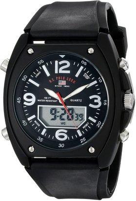 U.S. Polo Assn. Sport Men's US9052 Analog-Digital Black Dial Black Rubber Strap Watch