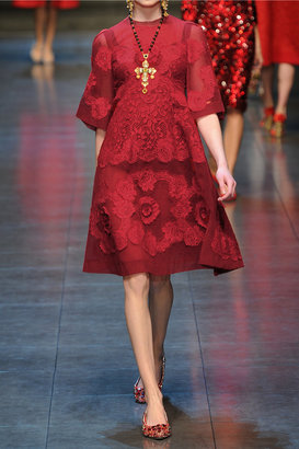 Dolce & Gabbana Appliquéd tulle and lace dress