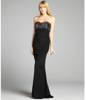 Notte by Marchesa black and silver sequin embellished banded strapless gown