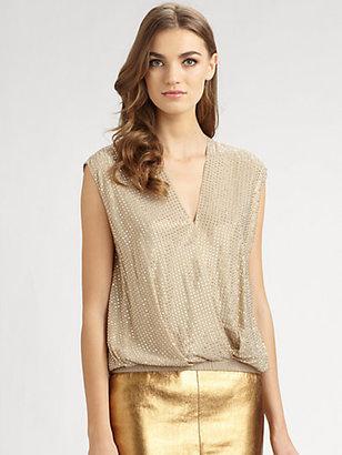 L'Agence Embellished Silk Top