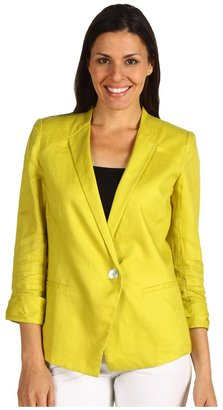 Paperwhite 3/4 Sleeve Stretch Linen Jacket (Chartreuse) - Apparel