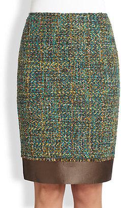 Lafayette 148 New York Aviana Leather-Trimmed Tweed Skirt