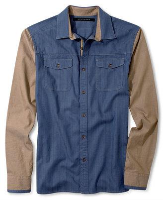 Sean John Big & Tall Shirt, Long Sleeve Denim and Colorblock Shirt