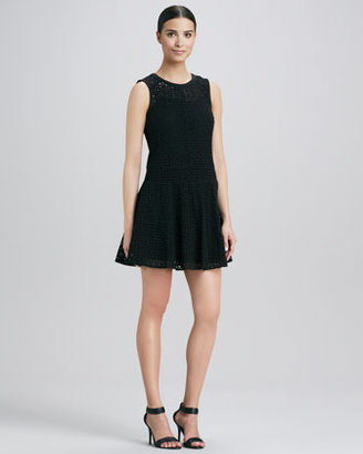 DKNY Eyelet Fit-and-Flare Dress