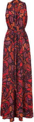 Rachel Zoe Scarlet Red Multi Silk Julianna Maxi Dress