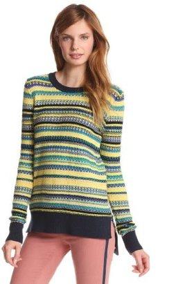 BCBGMAXAZRIA Women's Ananda Multi Tuck Stitch Pullover Sweater