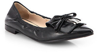 Prada Zippered Leather Ballet Flat