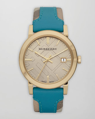 Burberry Check-Strap Watch, Turquoise