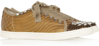 Lanvin Crystal-embellished leather sneakers