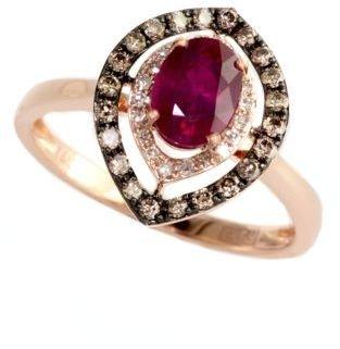 EFFY Red Velvet 14 Kt. Rose Gold Ruby & Diamond Ring