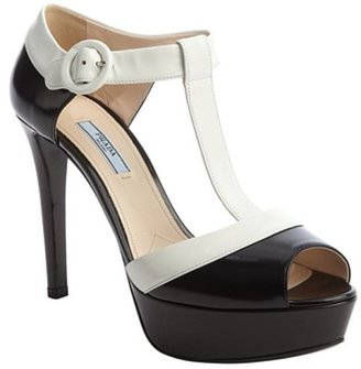 Prada black and white leather t-strap peep toe platform pump
