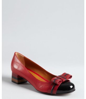 Fendi red leather bow patent cap toe stacked heel pump